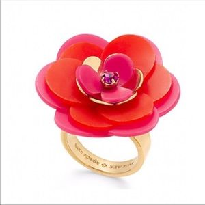 Kate Spade Rosy Posey Flower Statement Ring Size 6